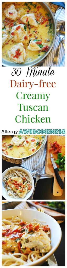 30 Minute Dairy-free Tuscan Chicken by AllergyAwesomeness.com