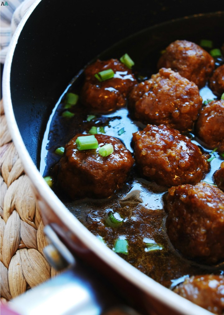 Quinoa Teriyaki Skillet Meatballs (Gluten, dairy, egg, peanut and tree nut free) Dinner recipe by AllergyAwesomeness.com