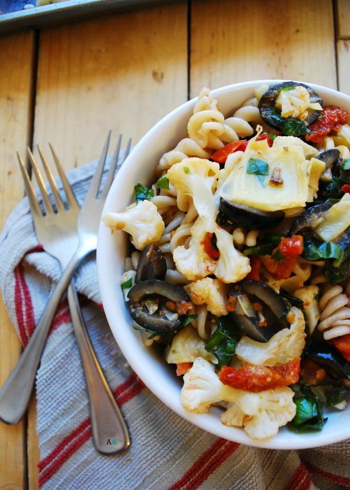 Gluten & Dairy Free Roasted Cauliflower Pasta Salad Recipe by AllergyAwesomeness