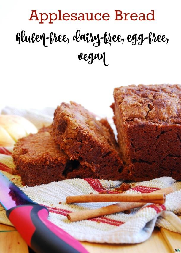 Gluten-free and Vegan Applesauce Bread. Recipe by AllergyAwesomeness.com
