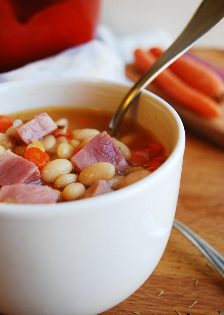 Ham & Bean Soup (Gluten, dairy, egg, soy, peanut & tree nut free; top 8 free) Dinner recipe by AllergyAwesomeness.com