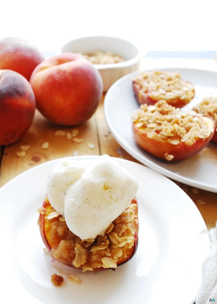 Streusel Stuffed Peaches (Gluten, dairy, egg, soy, peanut & tree nut free; top 8 free; vegan) Dessert recipe by AllergyAwesomeness.com
