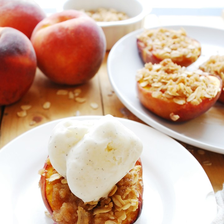 Streusel Stuffed Peaches (Gluten, dairy, egg, soy, peanut & tree nut free; top 8 free; vegan) Dessert recipe by AllergyAwesomeness.com