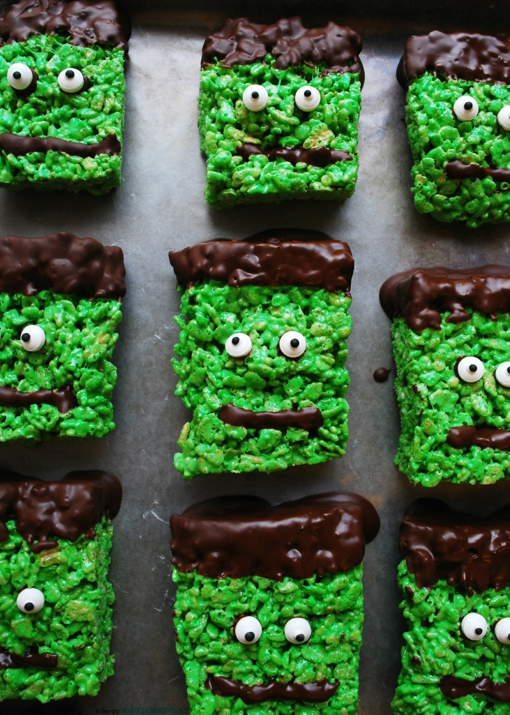 allergy friendly frankenstein rice krispies
