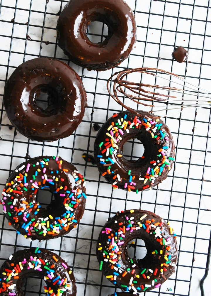 Gluten-free & Vegan Double Chocolate Baked Donuts (Gluten, dairy, egg, soy, peanut & tree nut free; top 8 free) Breakfast recipe by AllergyAwesomeness.com
