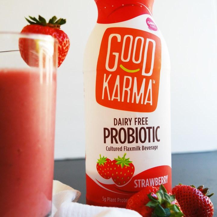 2 Ingredient Strawberry Probiotic Smoothie (Gluten, dairy, egg, soy, peanut & tree nut free; top 8 free; vegan)