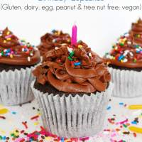 The BEST Allergy-friendly Chocolate Birthday Cupcakes (Gluten, dairy, egg, peanut & tree nut free; vegan)