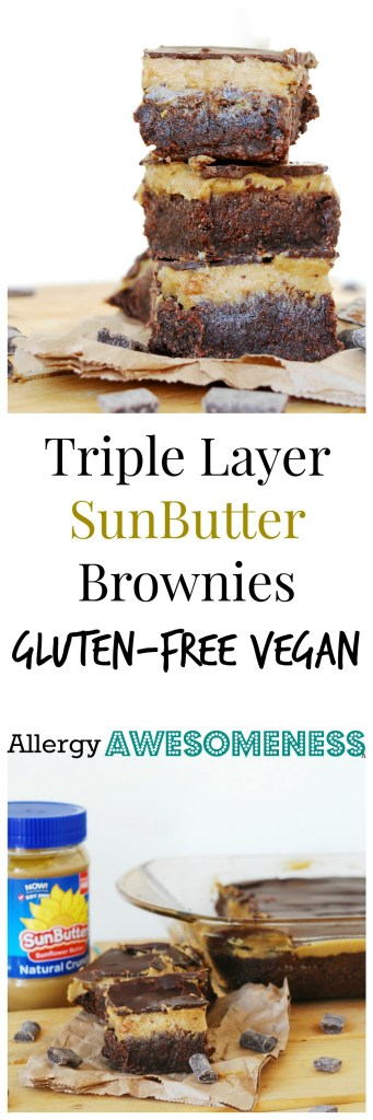 Gluten-free Vegan SunButter Brownies. Dessert recipe by AllergyAwesomeness