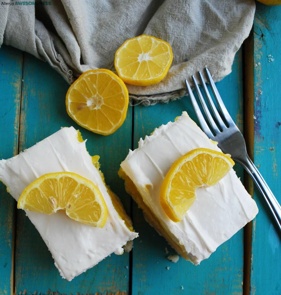 Dairy-free Lemon Cream Pie Bars Dessert Recipe by AllergyAwesomeness
