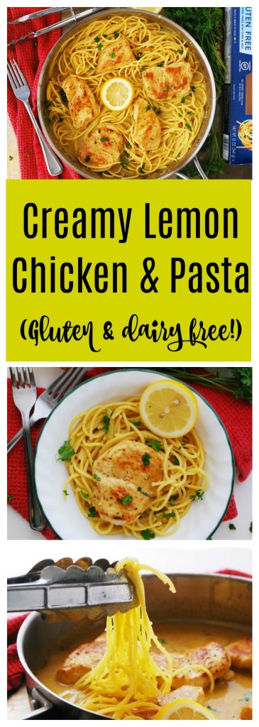 Creamy Lemon Chicken and Pasta gluten and dairy-free by AllergyAwesomeness