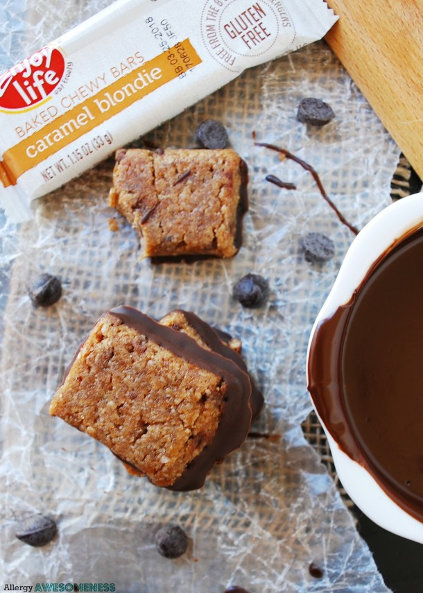 Vegan granola bars dipped in chocolate