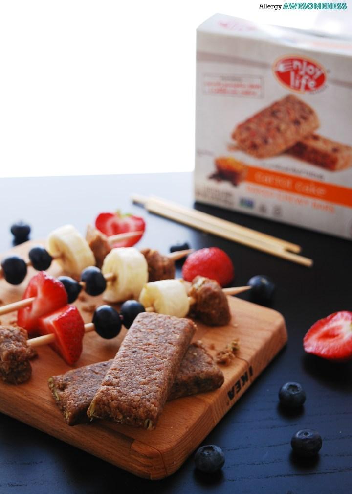 Fruit and granola kabobs