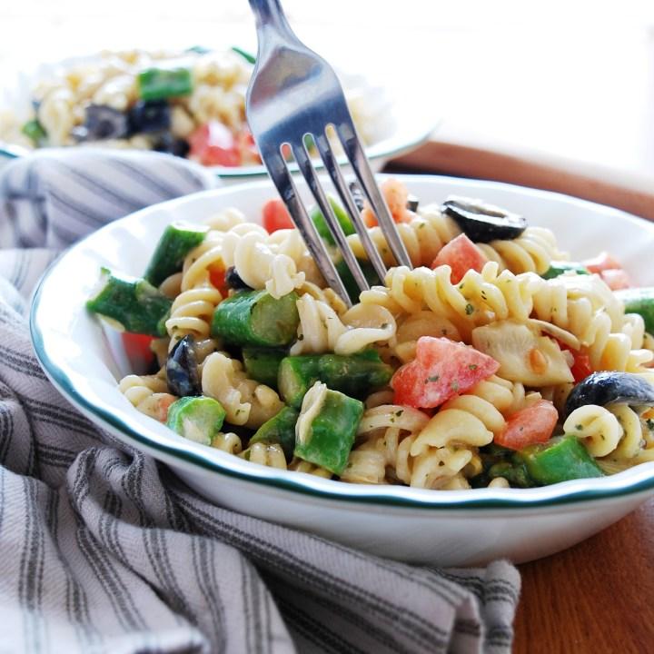 Allergy-friendly Tuscan Pasta Salad (Gluten, dairy, egg, soy, peanut & tree nut free; top-8-free; vegan)