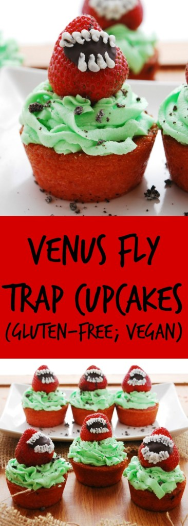 Venus Fly Trap Cupcakes Gluten-free & Vegan Halloween Dessert Recipes by AllergyAwesomeness.com