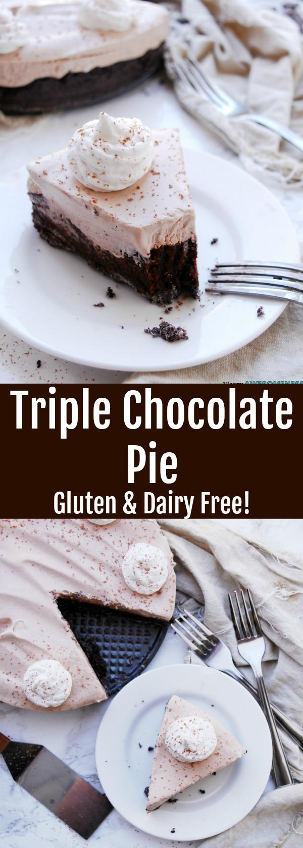 Triple Chocolate Pie (Gluten & dairy-free) Recipe by AllergyAwesomeness.com