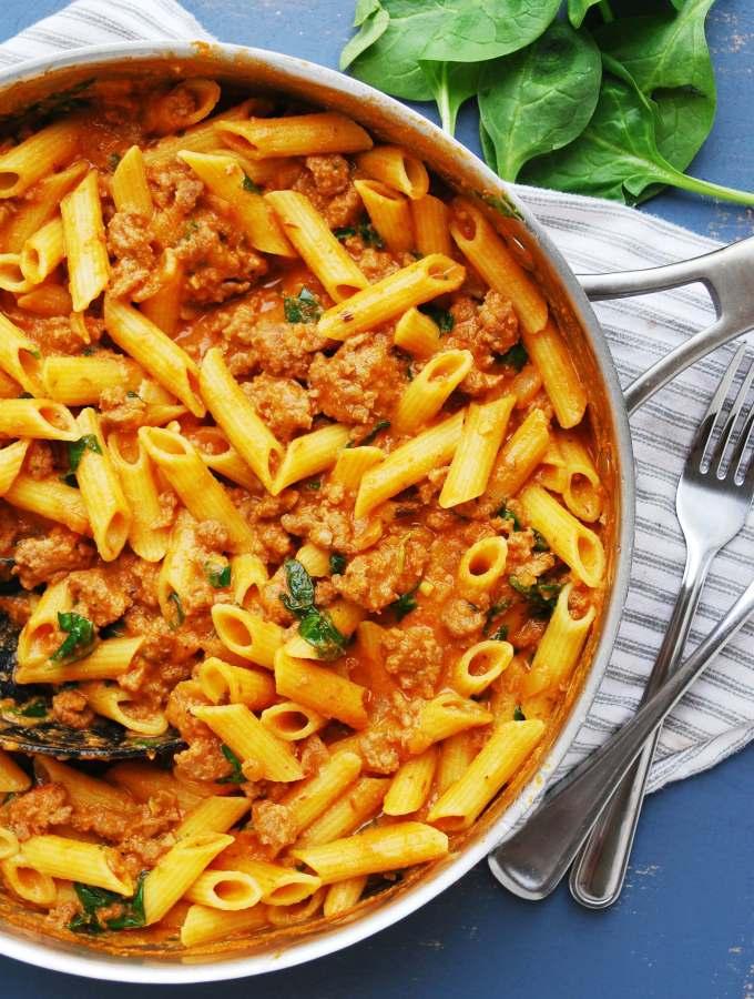 gluten-free spinach and sausage pasta