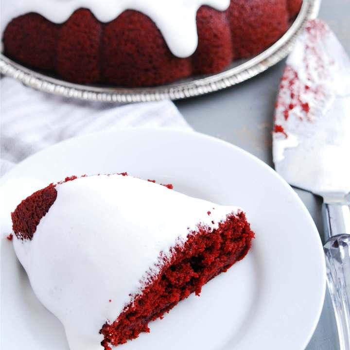 Gluten-free Vegan Red Velvet Bundt Cake with Sticky Marshmallow Icing