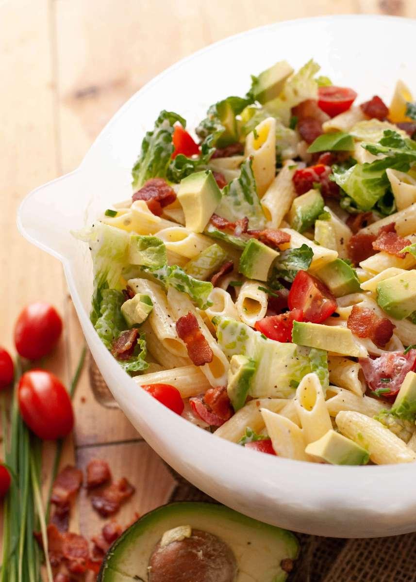 Gluten, Egg & Dairy-free Avocado BLT Pasta Salad