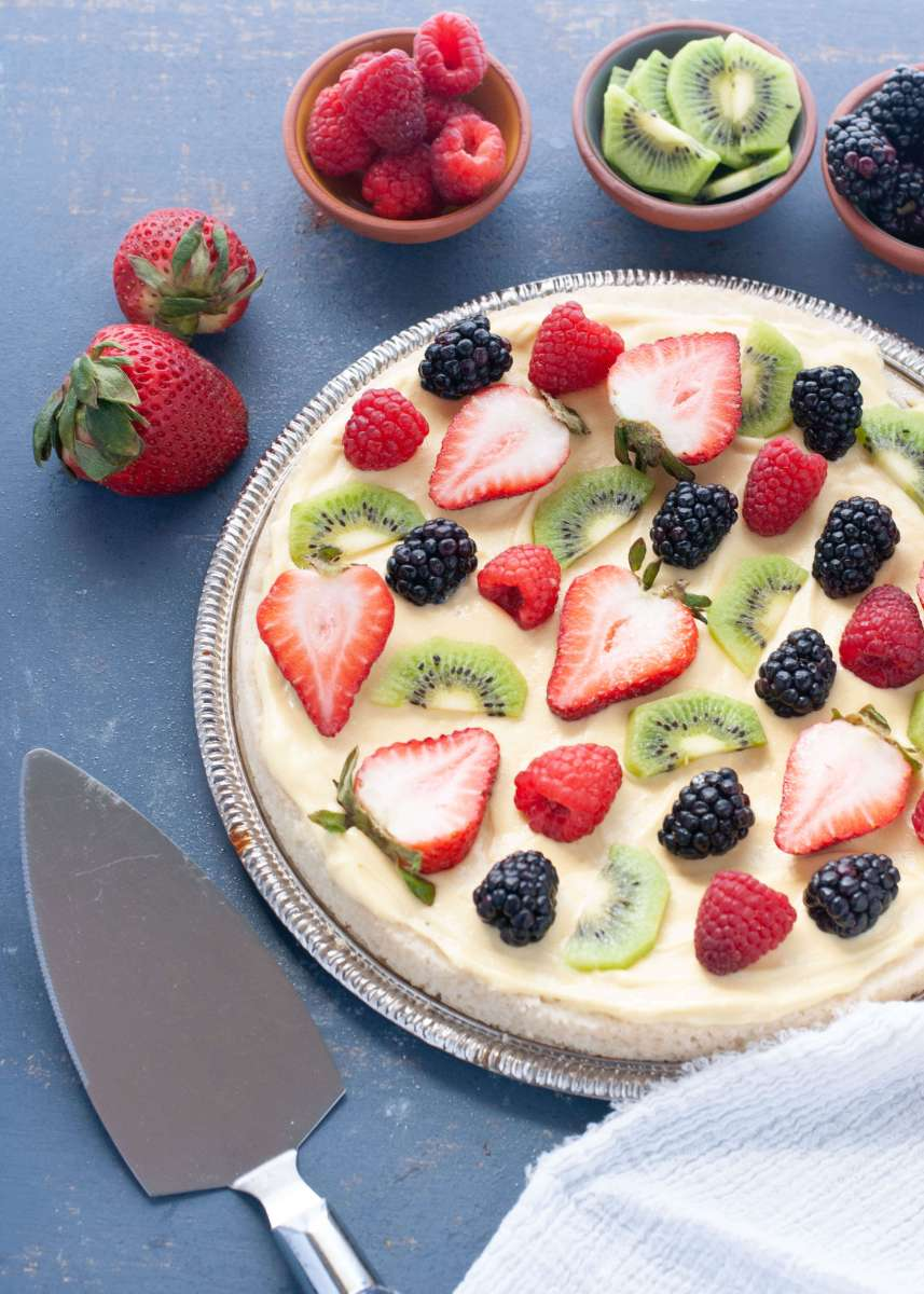Gluten-free Vegan Sugar Cookie Fruit Pizza (Nut free too!)