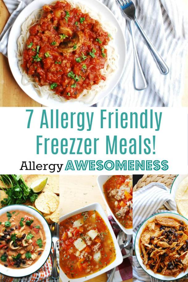collage of freezer meals for food allergies