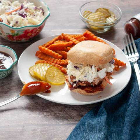 4 Ingredient Instant Pot (Or Slow Cooker!) Pulled BBQ Sandwich w/ Coleslaw (Gluten, Dairy & Egg Free Options!)