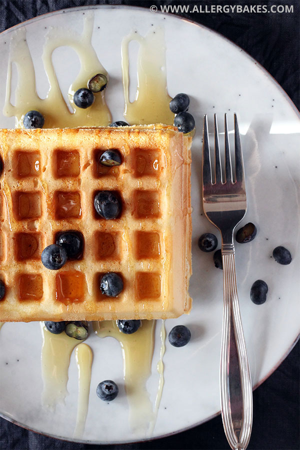 Overhead view of gluten and dairy-free waffles.