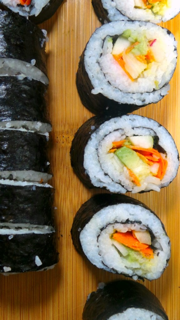 California style, Veggie Sushi Rolls made in your own kitchen