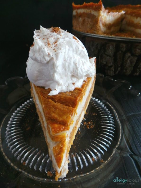 Delicious Vanilla Pumpkin Swirl cheesecake with cookie crust for the next holiday dessert table.