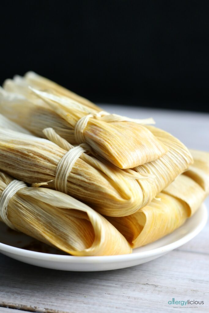 Perfectly wrapped Red Chile Jackfruit Tamales