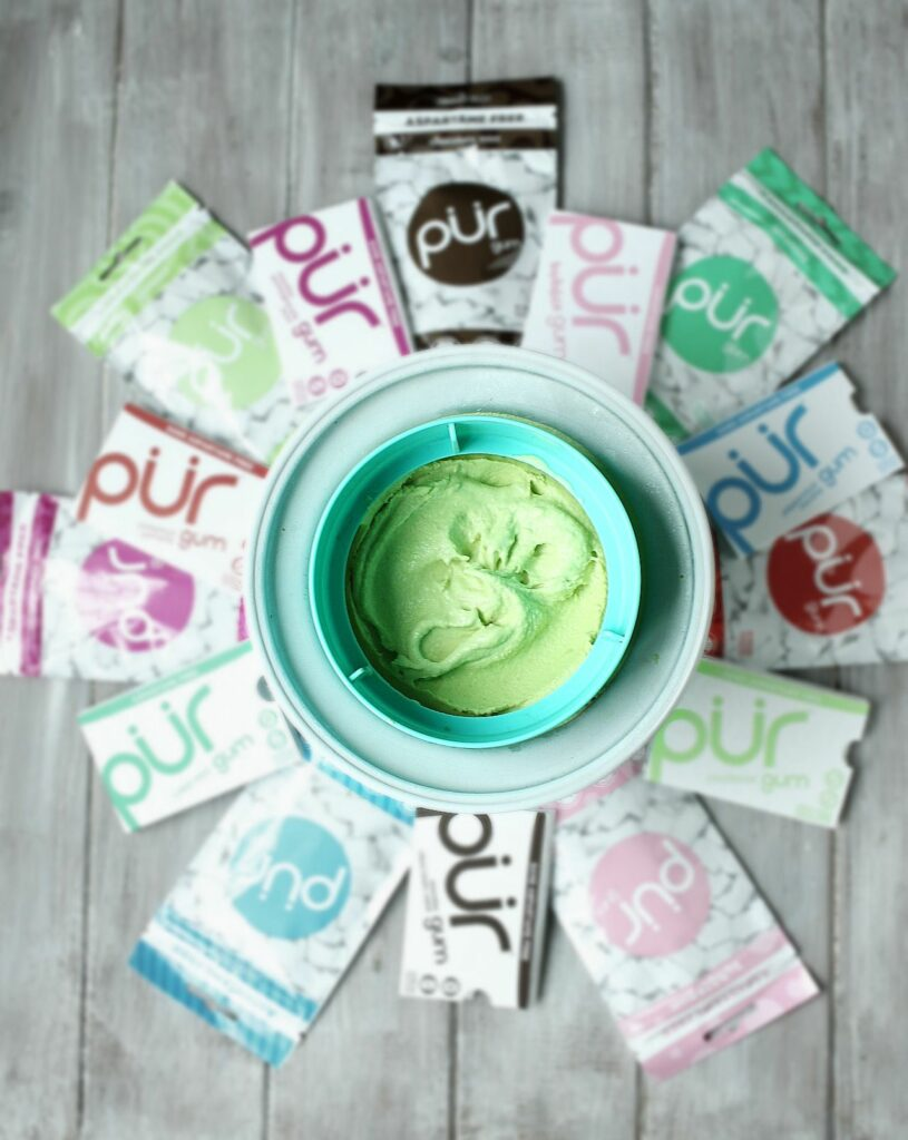 Thanks to PUR Gum, I recreated a childhood ice cream favorite and you won't believe this Chocolate Mint BubbleGum Nice Cream is actually healthy!