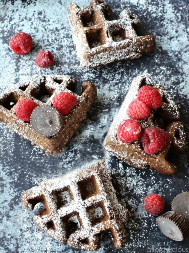 These Double Chocolate Waffles are not only easy to make, but also rich in chocolate-y goodness. All you need are a few allergy-friendly ingredients and they turn out light, fluffy & scrumptious! Truly one of our favorite Vegan & gluten-free waffle recipes! #glutenfree #vegan #allergyfriendly #dairyfree #chocolate #waffles