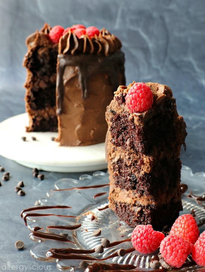 Slice of chocolate raspberry cake