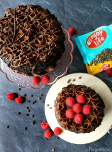 Top view of 2 chocolate raspberry cakes