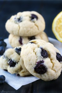 close-up of blueberry lemon cookies