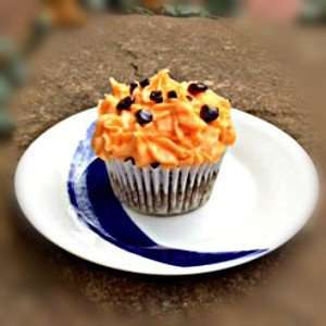 Vegan Pumpkin and Chocolate Cupcake