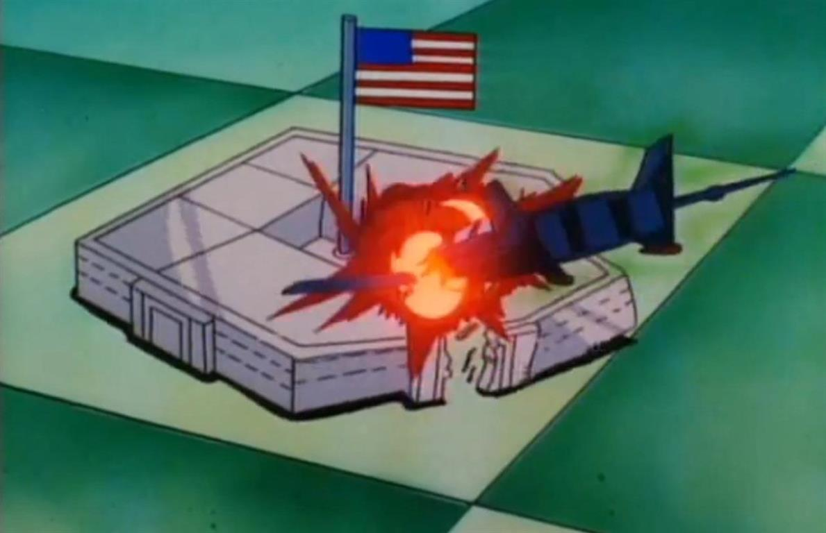 1994 - Der TV-Cartoon Iron Man zeigt wie das Pentagon und die Twin Towers von Flugzeugen zerstört werden.