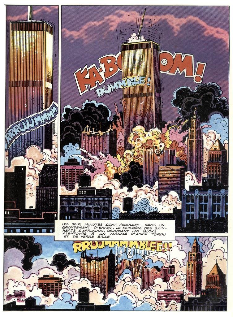 1985 - DC-Comics. Der spanische Comic-Zeichner Pepe Moreno malte das Zusammenkrachen der Twin Towers.
