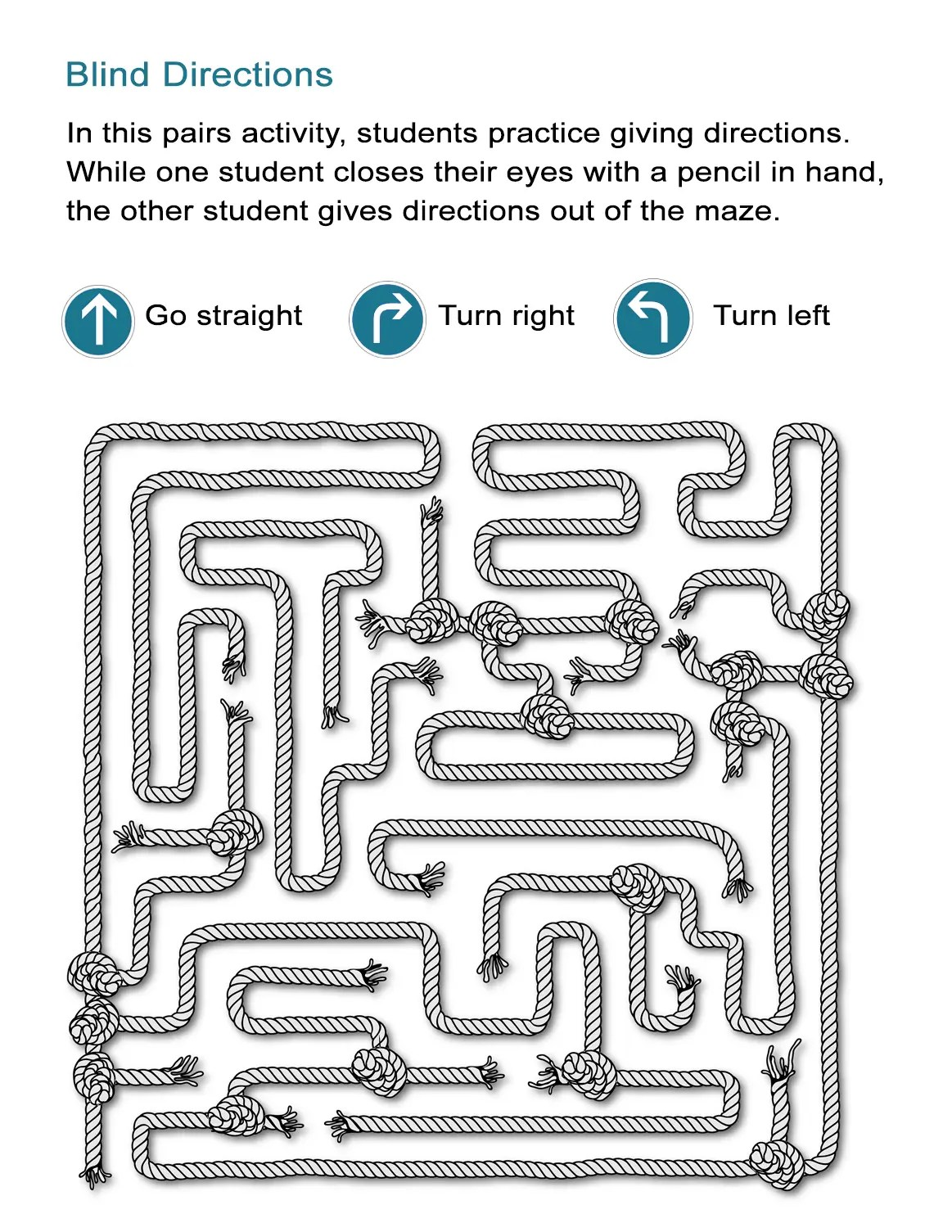 Maze Directions Worksheet