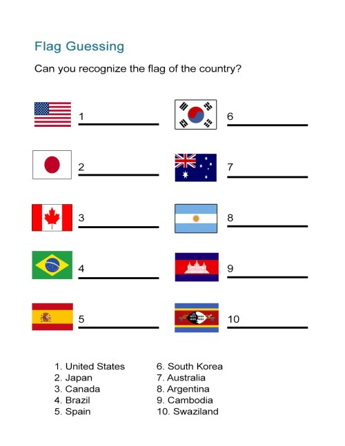 small resolution of Flag Worksheet: Can You Identify the Country Flag? - ALL ESL