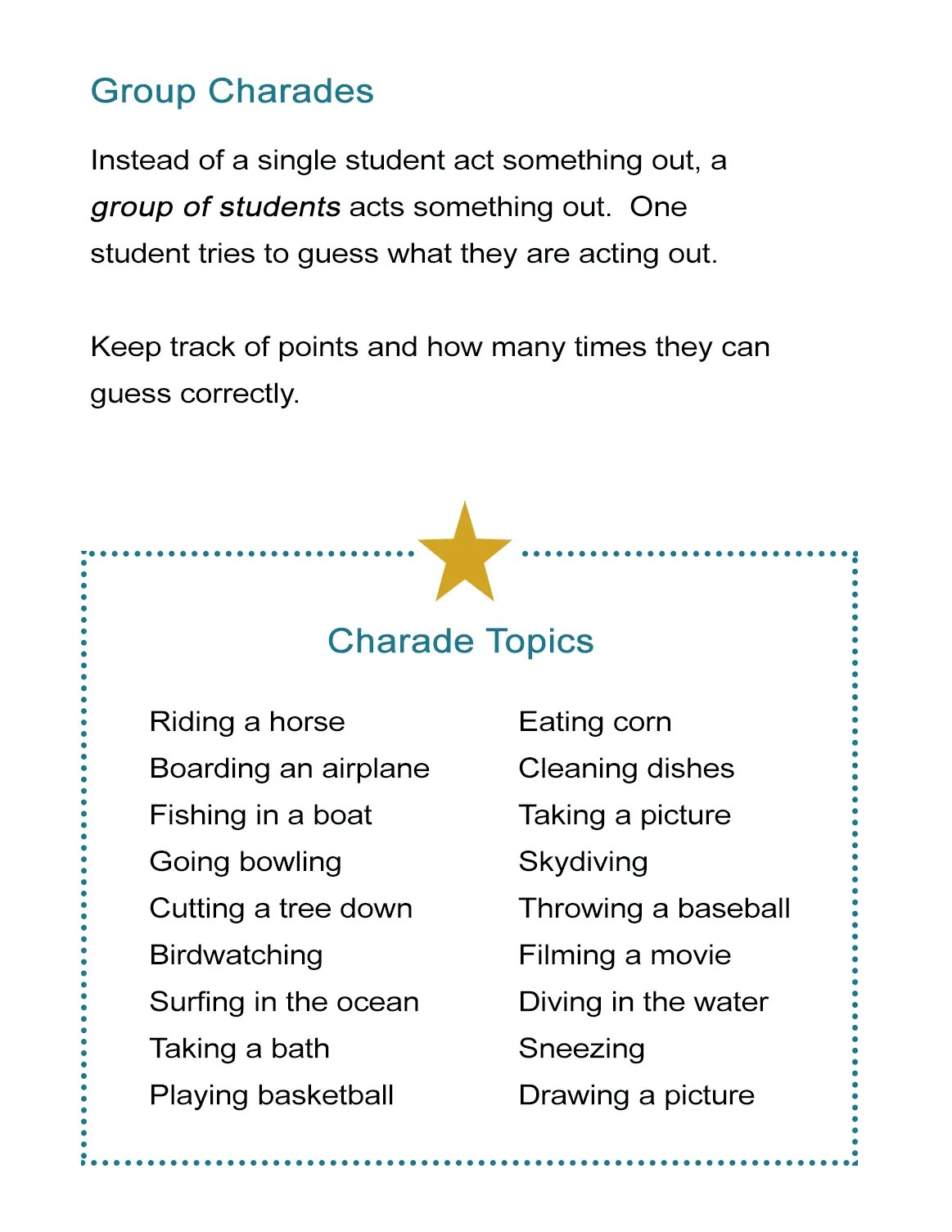 Group Charades Ideas How To Play Charades With A Large