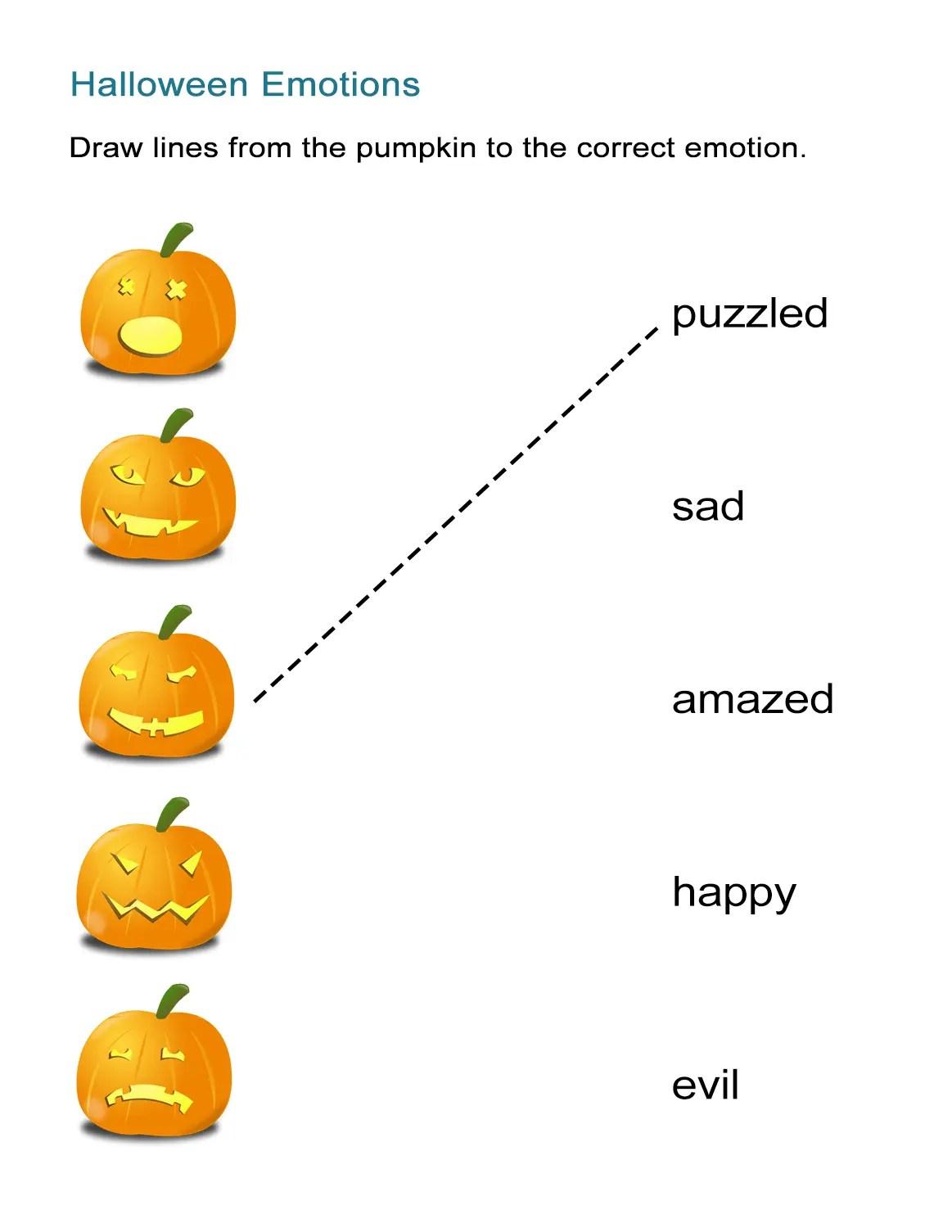Halloween Adjectives Jack O Lantern Emotions