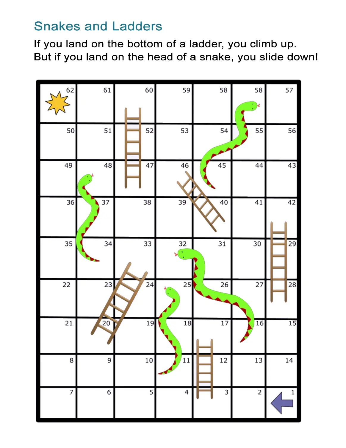 Snakes And Ladders Board Game Free And Printable Worksheet