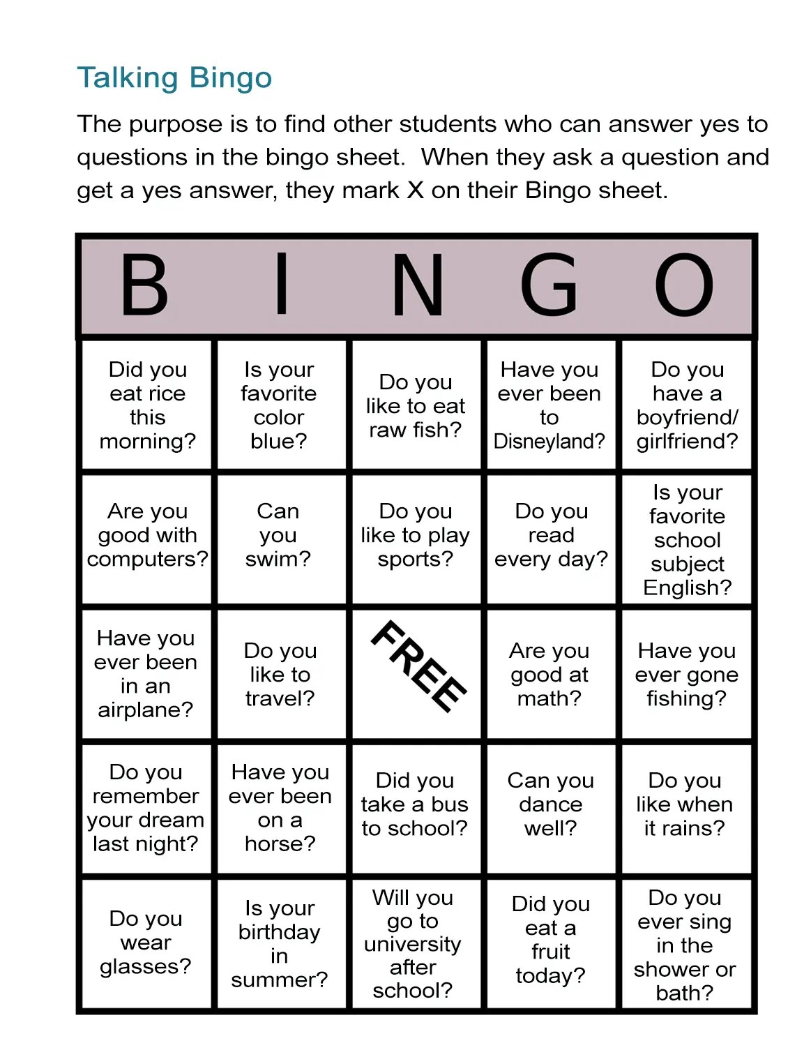 Esl Bingo Free Worksheet Stand Up Bingo