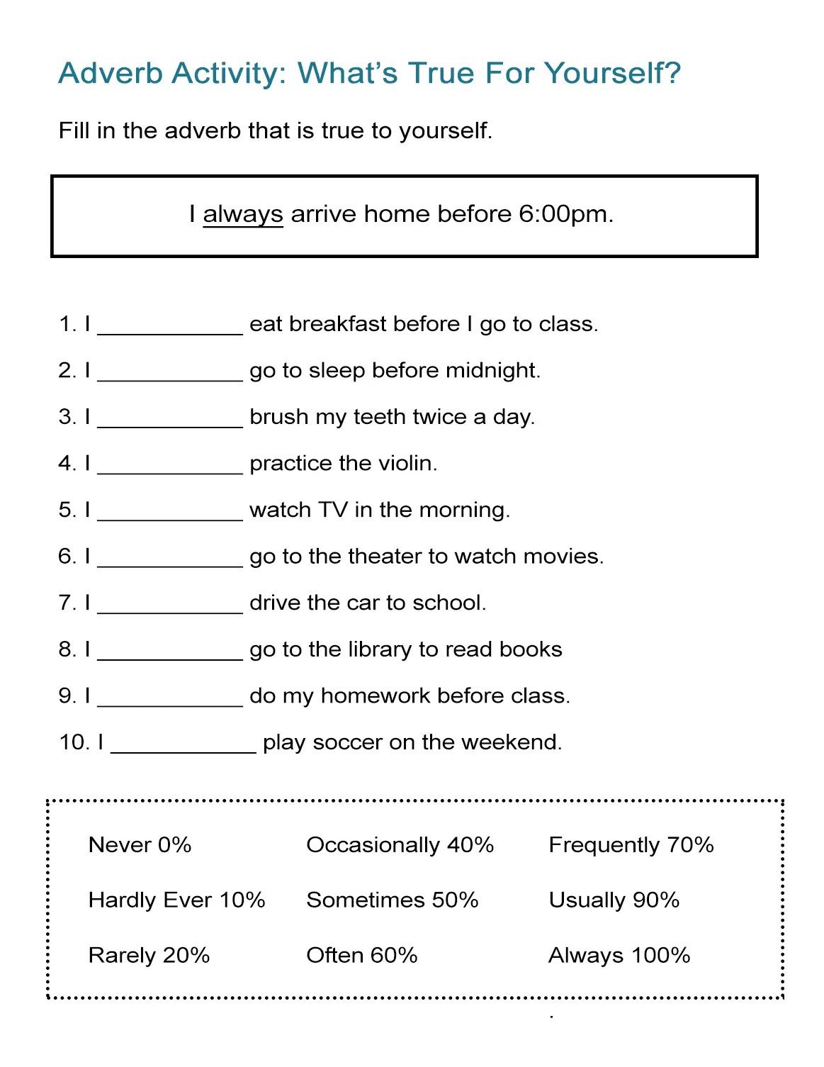 hight resolution of Adverb Activity: What's True For Yourself? - ALL ESL