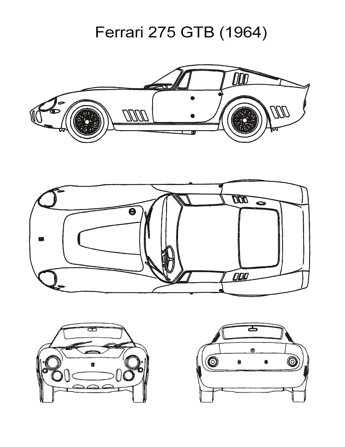 10 Car Coloring Sheets: Sports, Muscle, Racing Cars and