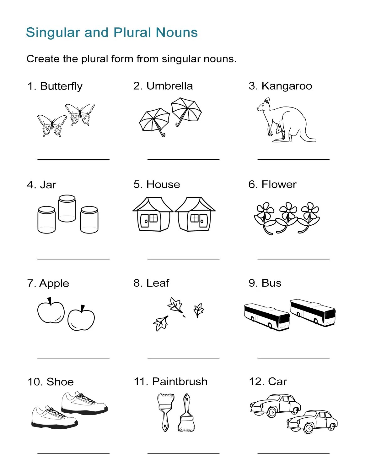Plural Nouns Worksheet For 2nd Grade