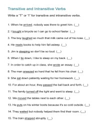 Transitive Verb Worksheet - Kidz Activities