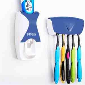 Automatische tandpasta dispenser set met 5 tandenborstelhouders (blauw)