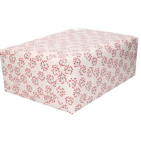 Rood/wit inpakpapier hart print 200 cm voor Valentijnsdag