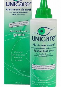 Unicare Lenzenvloeistof Alles-in-een Voor Harde Lenzen Met Gratis Lenshouder
